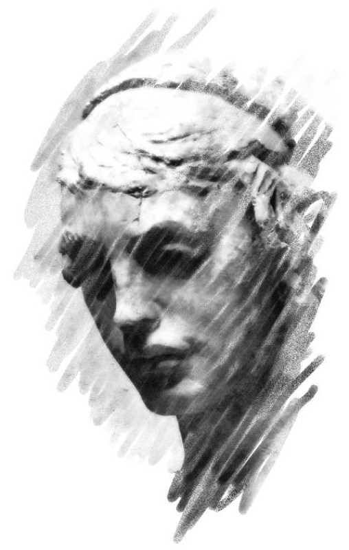 Excissa - woman's portrait in stone - muse - by Tony Karp